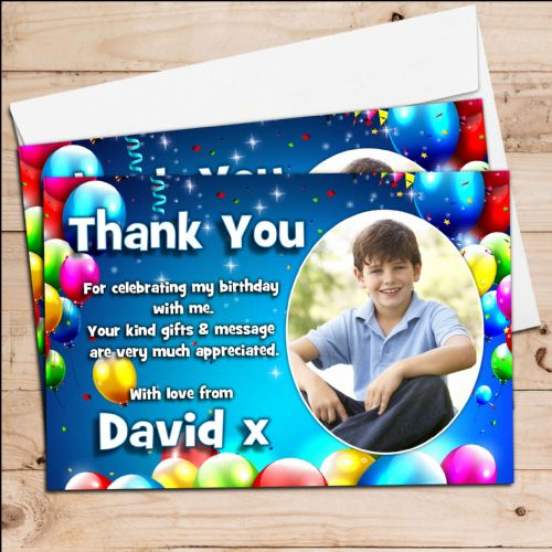 10 Personalised Birthday Balloons Party Thank you PHOTO Cards N255